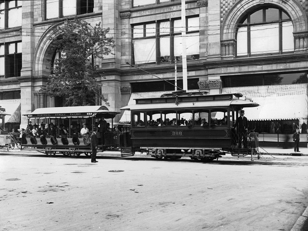 Streetcars in front of the HBC Store